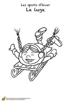 Coloriage d'une petite fille coiffée de deux nattes s'amusant sur une luge. Luge, Art For Kids, Crafts For Kids, Theme Sport, Core French, French Lessons, Copic, Social Studies, Coloring Pages