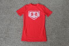 Under Armour Compression S/ S UA Boys Red White Big Logo Youth Size YSM…
