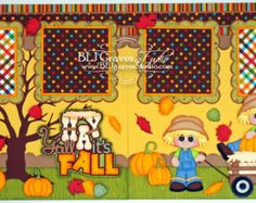2 Premade Scrapbook Pages 12x12 Layout Paper Piecing Fall Leaves Pumpkin Boy Girl Handmade 56