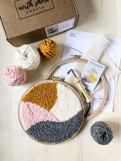 Materials Included: Monks cloth fabric wood Nurge embroidery hoop Yarn bundles Modern Trendy Neutrals Design template The Ultimate How to Punch Needle instruction booklet Optionally Includes: Oxford Regular Punch Needle tool Punch Needle Kits, Monks Cloth, Wave Design, Craft Night, Afghan Crochet Patterns, New Crafts, It's Amazing, Beautiful Textures, Crochet Earrings