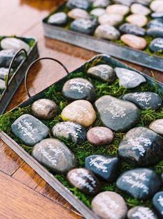rock wedding escort cards / http://www.himisspuff.com/creative-seating-cards-and-displays/7/