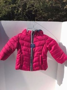 Nautica-Girl-039-s-2T-Quilted-Winter-Jacket-Pink-Silver-and-Navy-Trim-Zip-Hood-NWT