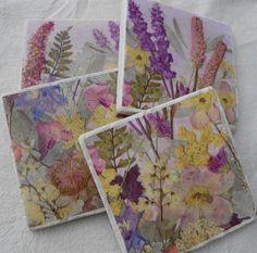 Pressed Flower Art Stone Coasters