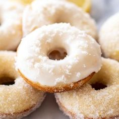 This easy Baked Lemon Donuts Recipe is made with simple pantry ingredients, is packed with bright, fresh lemon flavor, and topped with a lemon glaze. Buttermilk Recipes, Homemade Buttermilk, Homemade Donuts, Donut Batter, Making Donuts, Baked Donuts, Doughnuts, Bakers Gonna Bake, Lemon Bundt Cake