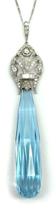 Art Deco briolette cut aquamarine and diamond pendant - French c.1920 - S.J. Phillips Ltd. - @~ Watsonette  Rather it be pink or crystal