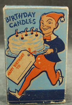 Old Birthday Candles with Elf on the Box, Will & Baumer Candle Company