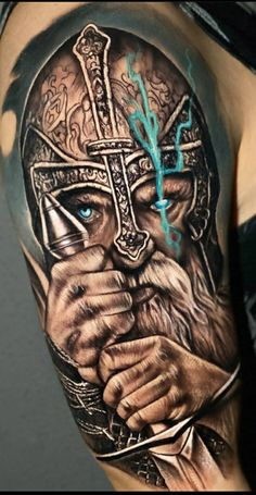 Viking Tribal Tattoos, Viking Tattoos For Men, Viking Warrior Tattoos, Hand Tattoos For Guys, Tattoos For Daughters, Warrior Tattoo Sleeve, Viking Tattoo Sleeve, Norse Tattoo, Skull Tattoos