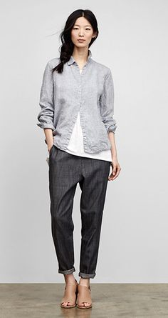 Eileen Fisher. curious about the pant cut with my pear shape. might work well. love that the outfit still looks tailored but easy to wear.