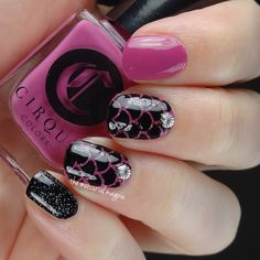 Pink and Black Mermaid Nails with Cirque Colors and KBShimmer