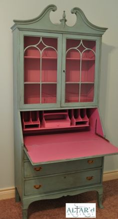 Drop front Secretary in pale aqua and raspberry Altar'd for Alison