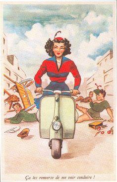 Vintage Vespa Postcard