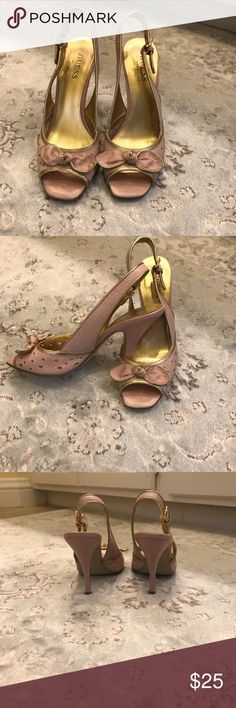 "Guess sling back Heels 👠 Pink and Gold rimmed pink bow sling back heels . 3"" used Guess Shoes Heels"