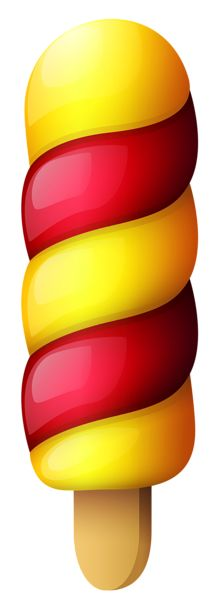 Yellow Red Ice Cream Stick PNG Clipart Picture