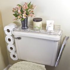 CHROME PLATED STEEL 3 IN 1 TOILET CADDY (TANK SHELF, MAGAZINE RACK AND TOILET PAPER HOLDER!)