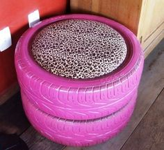 Tire Stool. Neat to have a couple in the garage for those garage parties  Cute!