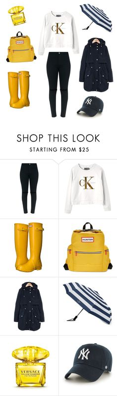 """Rainy Day Outfit // Yellow And Navy"" by peltomakipauliina on Polyvore featuring Calvin Klein, Hunter, Parka London, Kate Spade, Versace and '47 Brand"