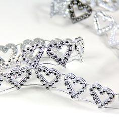 19mm Silver Heart Diamond Ribbon