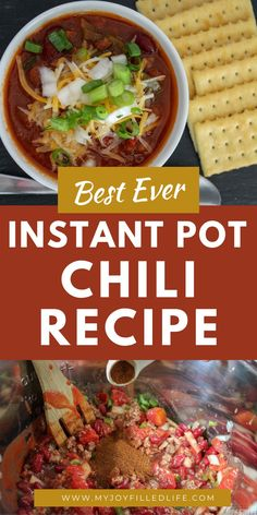 This Instant Pot Chili recipe is sure to become a family favorite. Your family will gobble up this easy recipe that is perfect to make on a busy, chilly weeknight. #chilirecipe #instantpotchili #bestchili