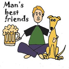 A Man and His Beer and Dog Cartoon
