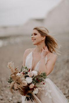 Wedding Ideas: A Wild & Free Beach Elopement Beach Wedding Inspiration, Wedding Ideas, Willow Tree Wedding, Suit Hire, Getting Married Abroad, Adam's Apple, British Seaside, Sheer Gown, Beach Elopement