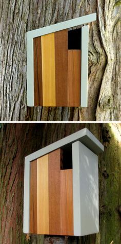 This light and dark wood birdhouse is inspired by craftsman architecture.