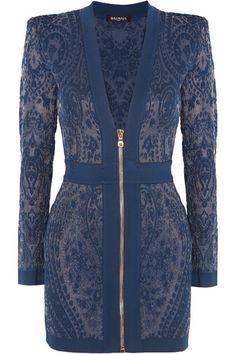 BALMAIN Paisley-Intarsia Stretch-Knit Mini Dress. #balmain #cloth #dresses