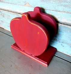 Apple Napkin Holder Painted Distressed Red by turquoiserollerset, $10.00