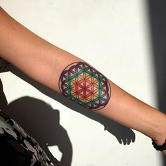 Colored Flower of Life Tattoo by cam_aceshightattoo