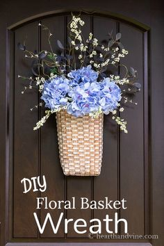 Learn how to create this beautiful basket wreath filled with blue hydrangea flowers and other artificial flowers for your front door this summer. Home Decor Baskets, Basket Decoration, Easy Home Decor, Indoor Wreath, Outdoor Wreaths, Fall Wreaths, Christmas Wreaths, Hydrangea Flower, Hydrangeas