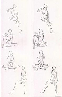 百家人体结构画法 之 躯干-躯体动作 [...@白郢子采集到线稿(199图)_花瓣插画/漫画