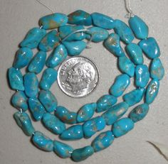 10 strand lot Blue Turquoise Loose Nugget Beads 5mm x 7mm Craft jewelry  #972…