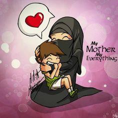 Gambar Kartun Ibu Dan Anak Perempuan Muslimah Kata Kata