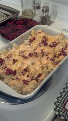 My French Onion Sour Cream Cheesy Potatoes w/ Bacon!  6 diced potatoes  1/2 tub french onion dip (or sour cream) 3 slices american single 1/2 cup shredded cheese Salt 1/2 stick butter 4 strips Bacon (crumbled).  Dice them taters (with or without skin is fine). Boil for 10 mins. Heat oven 350°…  drain potatoes and put in casserole pan. Pour onion dip with melted butter. Add singles. Add shredded chz with Bacon bits. Bake 15 mins.
