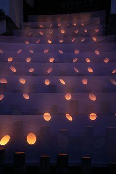 Spot lights inside cut bamboo to make spots across wall, Pillar Lights, Bamboo Light, Japanese Bamboo, Light Works, Japanese Textiles, Hotel Interiors, Light Installation, Dream Decor, Japanese Culture
