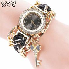 2017 CCQ Brand Women Gold Weave Hand Fashion Ribbon Watches Luxury Crystal Key White Analog Quartz Watch For Ladies C64