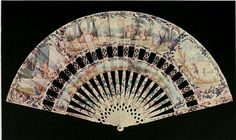 Vintage Fan: 18th Century French - Cabriolet fan, stick ivory, painted, leaf…