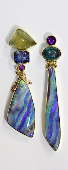 Boulder Opal earrings with moss aquamarine, London blue topaz, tourmaline and amethyst in 22k and 18k gold. Designed by Jennifer Kalled Boulder opal from Bill Kasso✿❦✿❦✿