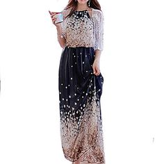 Women's+Boho+Blue+Dress,+Vintage/Beach/Print/Maxi+Halter+Sleeveless++–+USD+$+13.99