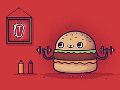 'Lean Meat' Hamburger Exercise Humor 24x18 - Vinyl Print Poster