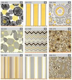 Play kitchen grey yellow color scheme fabric inspirations - all from fabric.com - any input on which ones I should use are more than welcome!!!