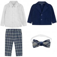 Baby A Boys Blue Cardigan & Check Trouser Set (4 Piece)