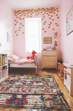 Top 20 Home Tours of All Time: A Crown Heights Family Makes It Work (Design*Sponge) Pink Bedrooms, Girls Bedroom, Diy Bett, Deco Kids, Pink Walls, Little Girl Rooms, Kid Spaces, New Room, Child's Room