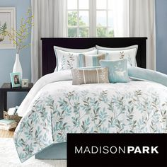 @Overstock - Madison Park Amber Cotton Sateen 7-piece Comforter Set - Made from 200 thread count cotton sateen, the comforter and shams feature an embroidered leaf pattern that goes about halfway up the comforter. A solid white background includes a 1-inch flange in a light blue color.    http://www.overstock.com/Bedding-Bath/Madison-Park-Amber-Cotton-Sateen-7-piece-Comforter-Set/7910738/product.html?CID=214117  $116.99