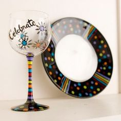 Plaid+FolkArt+Celebration+Plate+and+Stemware