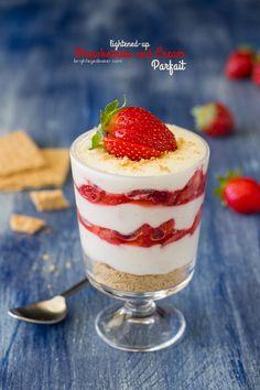 Lightened-Up Strawberries and Cream Parfaits | brighteyedbaker.com