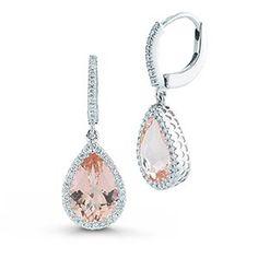 Morganite & Diamond Earrings  14kt White Gold