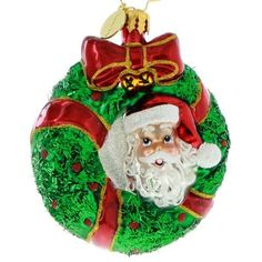 Radko LITTLE GEMS Peek A Boo Santa Wreath ornament NEW 2015 – Christopher Radko for SALE - RadkoforSale.com Free USA Shipping
