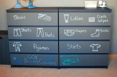 OK this might not be the prettiest looking but for someone like me it could work wonders! lol  although I dont see how if its chalk it doesnt rub off thats not real life!  Creative Ways to Use Chalkboard Paint in Kids Spaces