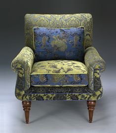 love the upholstery fabric...Shelburne Cornflower Chair: Mary Lynn O'Shea: Upholstered Chair & Pillow - Artful Home