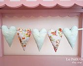 Items similar to Duck Egg Blue Dots & Pink Floral Fabric Heart Garland, Lace and Pearls, Party Bunting, Shabby Chic Home Decor on Etsy Shabby Chic Bunting, Shabby Chic Hearts, Shabby Chic Decor, Etsy Christmas, Christmas Gifts, Party Bunting, Heart Garland, Duck Egg Blue, Shabby Chic Homes